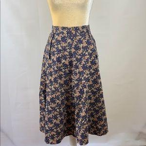 Vintage Olive Tree Patterned Cotton Skirt
